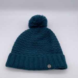 Outdoors Research peacock blue beanie with Pom